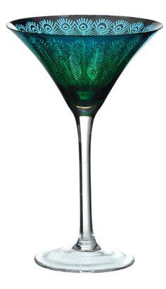 Peacock Martini Glass