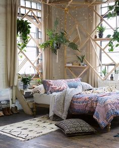 Bedroom & boho home & bohemian life & exotic interiors exteriors & eclectic space & boho design decor & gypsy inspired & nontraditional living & elements of bohemia & Room, Interior, Home Decor Bedroom, Home, Room Inspiration, House Interior, Apartment Decor, Chic Bedroom, Bohemian Bedroom Design