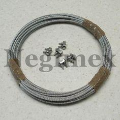 Filin de suspension en acier inox. 10m plus 2 serre-câbles : 17€