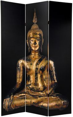 """70.88"""" x 47.25"""" Double Sided Thai Buddha 3 Panel Room Divider"""