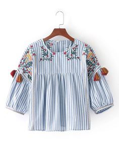 Boho Embroidery Shop Vertical Striped Flower Embroidery Top With Fringe online. SheIn offers Vertical Striped Flower Embroidery Top With Fringe Pleated Shirt, Embroidery Dress, Embroidery Shop, Loose Tops, Floral Stripe, Blouse Styles, Casual Tops, Blouses For Women, Fashion Outfits