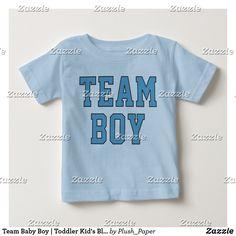 "Team Baby Boy | Toddler Kid's Blue Shirt Light blue sporty ""Team Boy"" tee shirt design in sporty lettering"