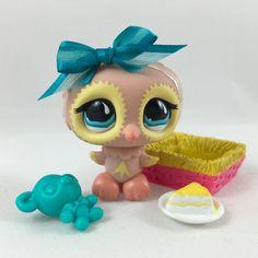Littlest Pet Shop RARE Tan & Yellow Owl #674 w/Turquoise Eyes, Nest, Accessories #Hasbro