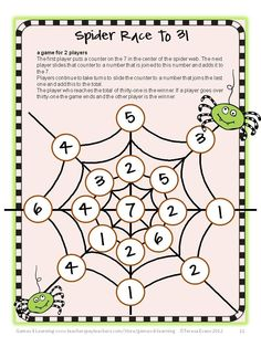 Spider Race to 31 – Addition to 31 - Part of the Halloween Math Collection by Games 4 Learning $