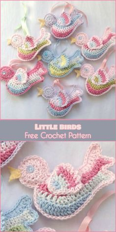 Baby Knitting Patterns Christmas Little Birds for Home Decor or Weddings [Free Crochet Pattern] Crochet Bird Patterns, Crochet Birds, Easter Crochet, Crochet Flowers, Baby Knitting Patterns, Crochet Animals, Crochet Stars, Flower Patterns, Crochet Appliques