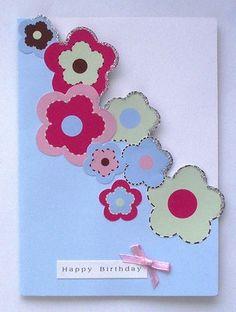 Handmade Birthday Cards for Girls Girl Birthday Cards, Birthday Crafts, Handmade Birthday Cards, Cardmaking And Papercraft, Beautiful Handmade Cards, Pretty Cards, Flower Cards, Creative Cards, Craft Activities