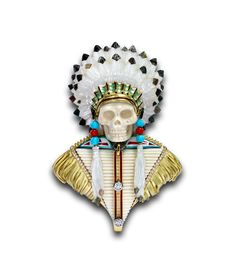 Theo Fennell  The skull portrait of Chief Sitting Bull is part of a collection of unique brooches entitled Sic Transit Gloria Mundi – which translates loosely as 'How fleeting are earthly Glories.  Hand made in London workshop above the flagship store by 7 brilliant craftsmen using carved mammoth bone, mother of pearl, diamonds, turquoise and coral beads and set in 18ct yellow gold and enamel and hand engraved details. POA