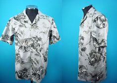 Cotton Kimono Hawaiian shirt, yukata fabric, tiger, Men by PriscillaTokyo on…