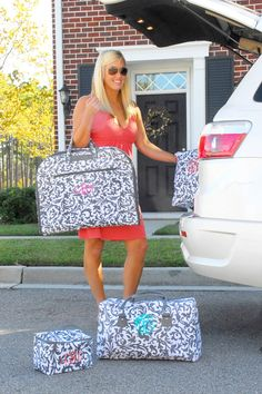 Personalized Luggage Garment Bag  Gray Floral-$32.50 ::  idea, not tutorial