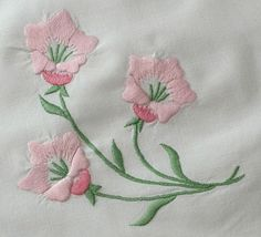 Antique Linens by Em& Heart- Vintage French Linen Monogrammed Sheet Set Hand Embroidery Dress, Floral Embroidery Patterns, Hand Embroidery Stitches, Free Machine Embroidery Designs, Embroidery Fashion, Embroidery Techniques, Ribbon Embroidery, Sewing Projects, Sewing Crafts