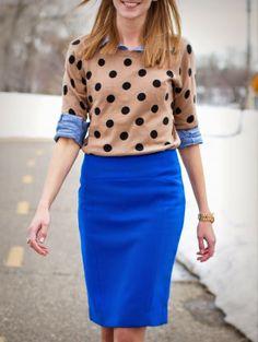 e9b32f88c74c4c Polka Dotted Top And Blue Skirt Polka Dot Sweater