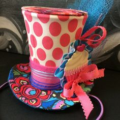 Your place to buy and sell all things handmade Purple Desserts, Mini Desserts, Polka Dot Fabric, Blue Polka Dots, Mardi Gras Hats, Mad Hatter Hats, Halloween Party Costumes, Custom Hats, Grosgrain Ribbon