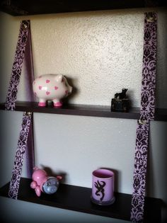 The only shelf you can hang in your college dorm room. They can be hung from medium or large size command hooks. Instant vertical storage space. No holes in the wall needed! Any color combo is possible. Hanging Ribbon Shelves by TheDivasRoom on Etsy