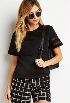 mesh paneled boxy top forever 21 2000184027