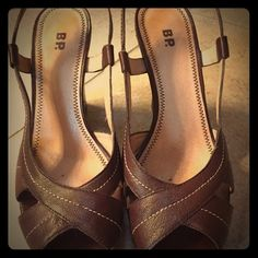 Wedge brown leather sandal Bought at Nordstrom's. Worn only a few times. Wedge sling back peep toe. Shoes Wedges
