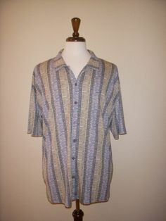 Burma Bibas Blue Button-front Palm Leaves Hawaiian Aloha Camp Bowling Shirt XL