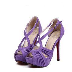 Fashion Pleated Stiletto High Heels Purple Suede Cross Strap Sandals