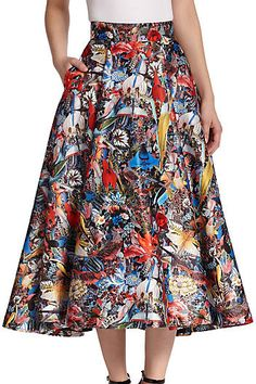 Alice + Olivia Flora Printed Midi Skirt on shopstyle.com