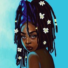 i think imma do this to my hair Black Love Art, Black Girl Art, Art Girl, Black Art Painting, Black Artwork, African American Art, African Art, Marceline, Black Girl Dreads