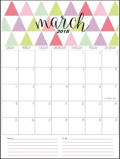 Stylish March 2018 Printable Calendar
