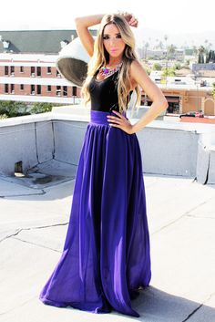 A LINED FULL CHIFFON SKIRT - Royal purple blue
