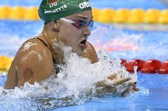 Lithuania's Ruta Meilutyte competes in the Women's 100m Breaststroke Semifinal during the swimming event at the Rio 2016 Olympic Games at the Olympic Aquatics Stadium in Rio de Janeiro on August 7, 2016.   / AFP / GABRIEL BOUYS