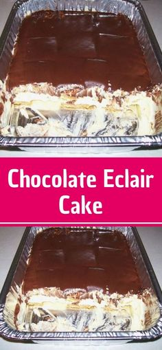 This Chocolate Eclair Cake is super quick and easy to make but is a crowd-pleasing, show-stopping, all-time favorite dessert! This Chocolate Éclair Cake features layers of graham crackers, mega creamy filling made with vanilla pudding
