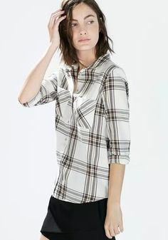 51c01ec056e4 White Plaid Single Breasted Pockets Blouse. Kraag ShirtsBlousesWitte ...