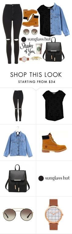 """""""Shades of You: Sunglass Hut Contest Entry"""" by isabellysantanaa ❤ liked on Polyvore featuring Topshop, Bobeau, Quintess, Timberland, Prada, Alexis Bittar and shadesofyou"""