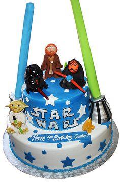 Star wars cake - make lightsabers using ice cream cones and rice crispy treats