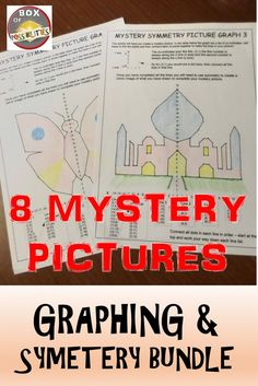 Graphing and symmetry mystery pictures. Have your students practice graphing skills in a fun way by creating a mystery picture. Students will use co-ordinates and symmetry spanning two quadrants to create one of 8 mystery pictures.