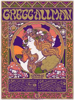 Gregg Allman is on tour now, and his team ran into some bad luck when their tour bus went off the road and crashed. Luckily, Gregg was not injured. Tour Posters, Band Posters, Music Posters, Festival Posters, Concert Posters, Gig Poster, Concert Tickets, Rock Festivals, Music Pics