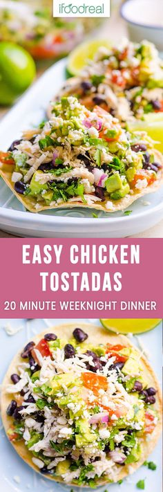 Healthy Mexican Chicken Tostadas Recipe for a 20 minute weeknight dinner. Crunchy tortillas (quick homemade recipe included) topped with shredded chicken, beans and easy guacamole. SO GOOD! #healthy #mexican #cleaneating #dinner #recipe