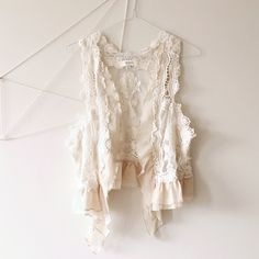 2c2c089f96 A lovely Dainty Cream crochet boho vest top with mesh on the back and  chiffon frills