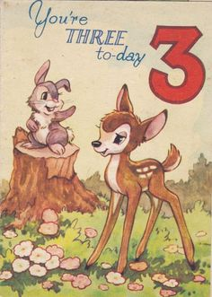 Vintage Bambi And Thumper Birthday Card - Valentine s Series - Beautiful Artwork