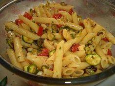 Pasta con zucchine fritte, pomodorini e pancetta: Ricetta Siciliana
