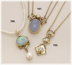Opal, Bule Chacedony & Diamond pendants. Richelle Leigh Collection