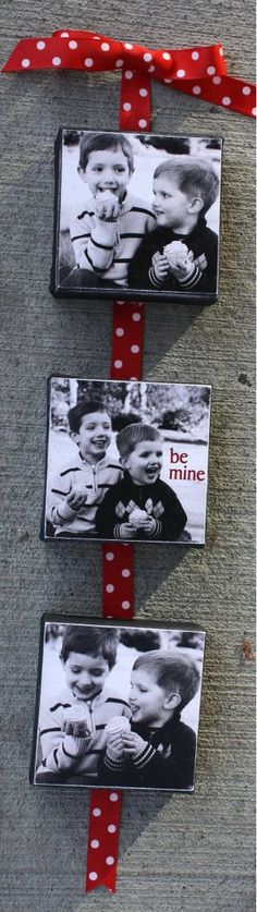 Hanging photos.  simply a ribbon with c.d. cases as the frame with your favorite photos tucked inside.   easy!