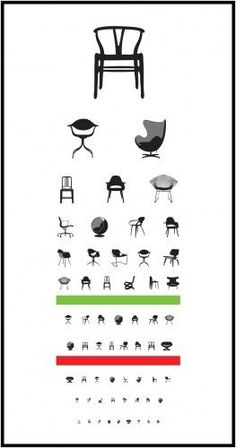 My kind of eye chart!-) Eye Exam digital print at Blue Art Studio by Joel Pirela ~ via The Designer Pad Design Furniture, Chair Design, Modern Furniture, Vitra Design, Smart Furniture, Classic Furniture, Furniture Styles, Outdoor Furniture, Mid-century Modern