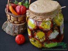 Ardei Umpluti cu Branza Feta, aperitiv sau gustare. Romanian Food, Romanian Recipes, Pickling Cucumbers, Preserving Food, Preserves, Baked Potato, Pickles, Camembert Cheese, Stuffed Mushrooms