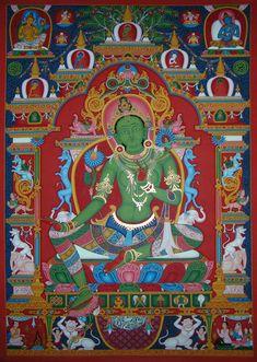 Mysore Painting, Thangka Painting, Buddha Life, Buddha Art, Tibet Art, Vajrayana Buddhism, Thailand Art, Green Tara, Oriental