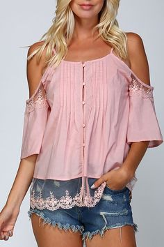Open Shoulder Button Top with Lace Detail