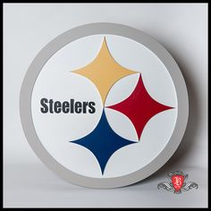 """Steelers Logo - perfect for the Man Cave!  Made from MDF using a CNC router and hand painted. Measures 22"""" in diameter."""