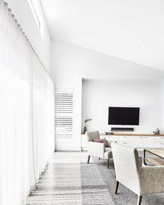 154 Likes, 6 Comments - Thomas Archer Homes Raked Ceiling, Ceiling Curtains, Concrete Interiors, Courtyard Design, Open Plan Living, Concrete Floors, House Floor Plans, Home Builders, Decor Interior Design