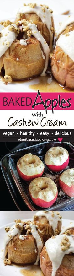 This baked apples with cashew cream recipe is super easy to make. The cinnamon and vanilla will fill your house with love. Vegan Dessert Recipes, Delicious Vegan Recipes, Easy Desserts, Whole Food Recipes, Vegetarian Recipes, Vegetarian Appetizers, Paleo Sweets, Healthy Desserts, Healthy Vegan Snacks