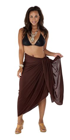 6adc37e55e03d 1 World Sarongs Womens PLUS Size Solid FRINGELESS Cover-Up Sarong in Brown