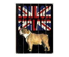 Cuadro en madera de abedul London Bulldog - 35,6x50,8 cm