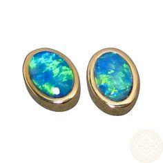 Blue and Green Opal Stud Earrings in 14k Gold.  www.flashopal.com  #opal