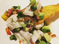 Rockfish Ceviche with Rhubarb Pico de Gallo Whole30 Fish Recipes, Rockfish, Stuffed Poblano Peppers, Summer Dishes, Ceviche, Tortilla Chips, Whole 30, Pasta, Fresh