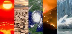 A collage of typical climate and weather-related events: heatwaves, drought, hurricanes, wildfires and changes in sea ice coverage. (NOAA)